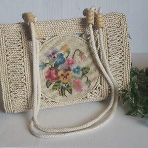 Straw flower  Needlepoint embroidered boho purse